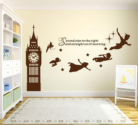 big ben clock wall decal, peter pan wall decal quote-second star to
