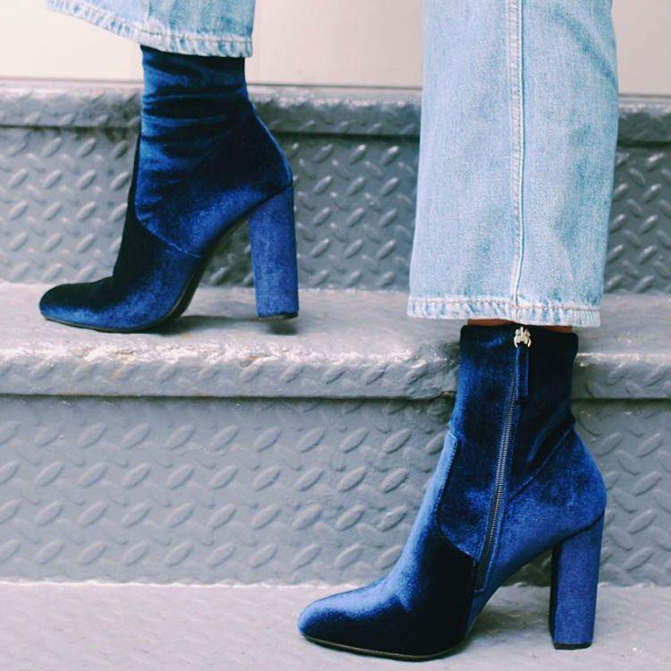 Glitter Heel Velvet Blue Block Heel Shoes What To Wear