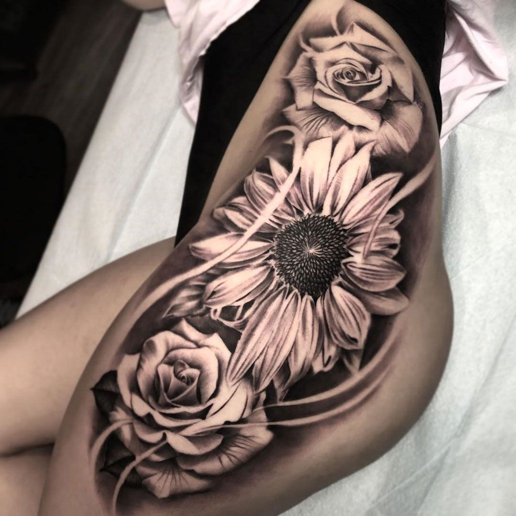 Sunflower Roses Hip Tattoo Hip Tattoos Women Sunflower Tattoo Thigh Hip Tattoo