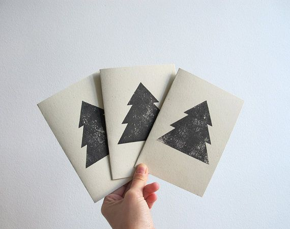 3 christmas cards  hand printed by 10antemeridiem