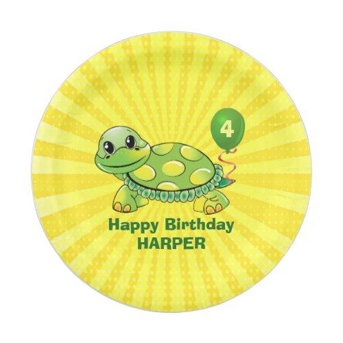 Personalized Turtle and Balloon Birthday Paper Plate | Party Paper Plates | Pinterest | Turtle Birthdays and Yellow birthday parties  sc 1 st  Pinterest & Personalized Turtle and Balloon Birthday Paper Plate | Party Paper ...