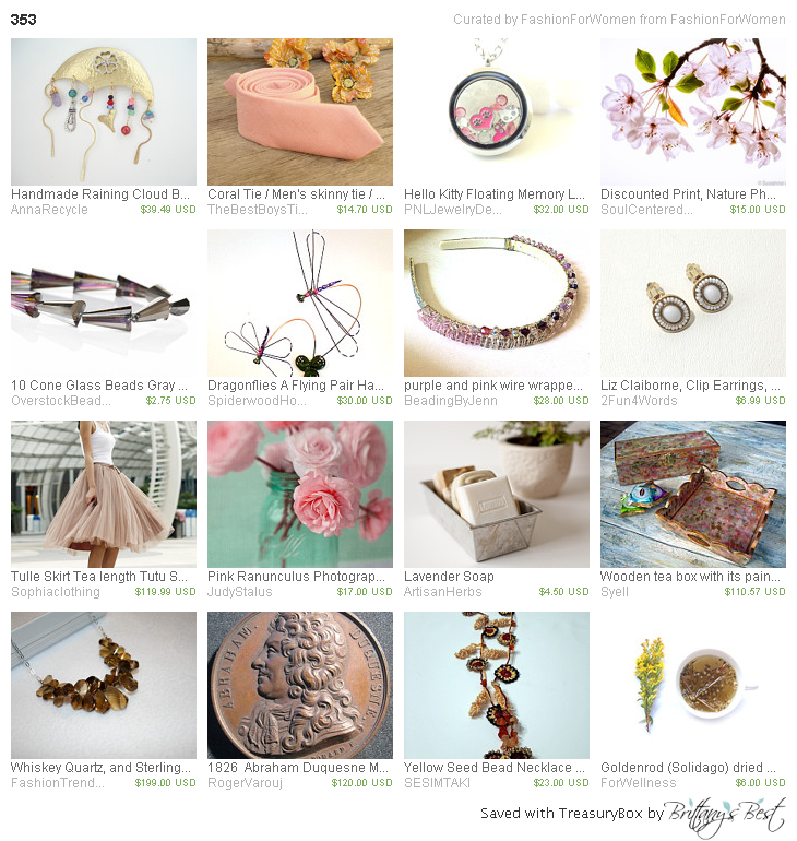 353 Treasury by FAshionForWomen.  Thanks for including our vintage Liz Claiborne earrings!
