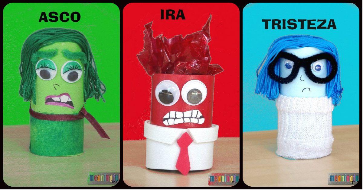 """Personajes de la película Del revés """"Inside Out """". Reciclando rollos de papel higiénico o de cocina + tutorial en imágenes"""