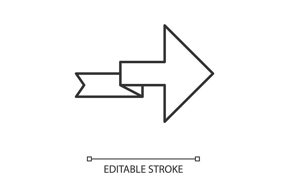 Arrow With Folding Line Linear Icon Pictogram Design Icon Linear