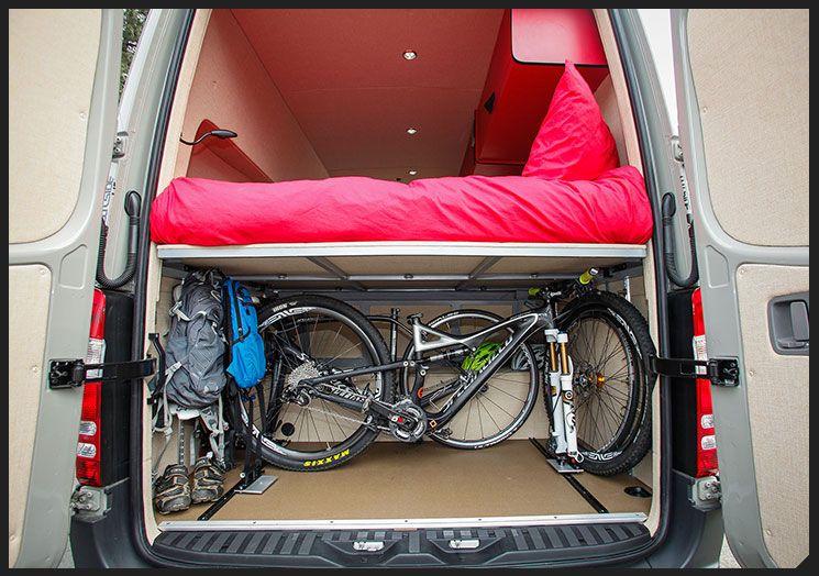 Sprinter Bed With Bikes Underneath Happy Camper Van