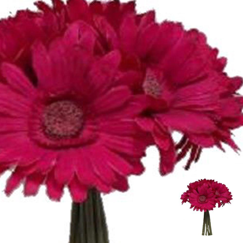 Gerbera Daisy Bouquet Fuschia Hot Pink Silk Flowers Artificial Bush
