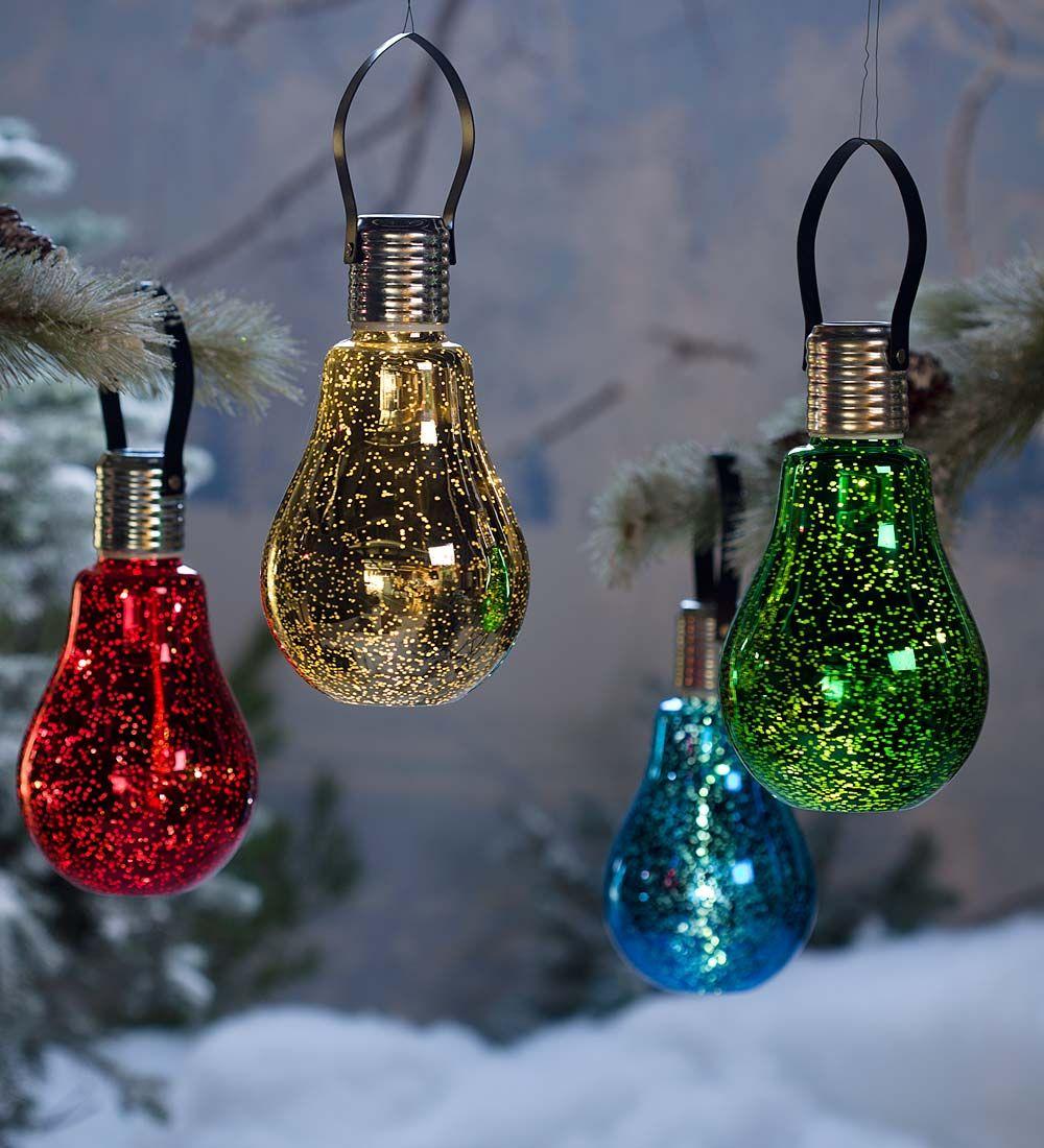 Hanging Mercury Glass Edison Bulb Solar Ornament Outdoor