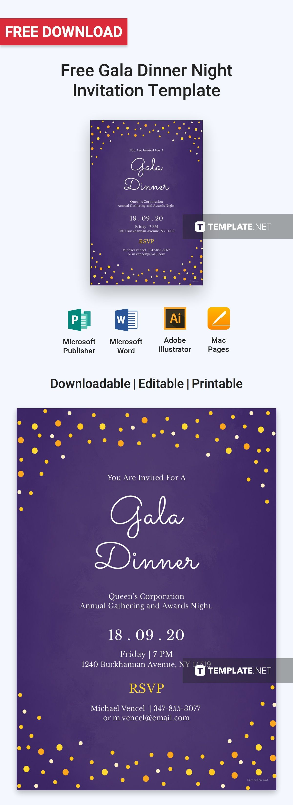 Gala Dinner Night Invitation Template Free Pdf Word Psd Apple Pages Illustrator Publisher Invitation Template Gala Dinner Invitations