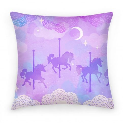 Carousel horses with lace detail - pillow cover from lookhuman.com Cute gift for a little girl - or buy a tote in the pattern to use as a gift bag.