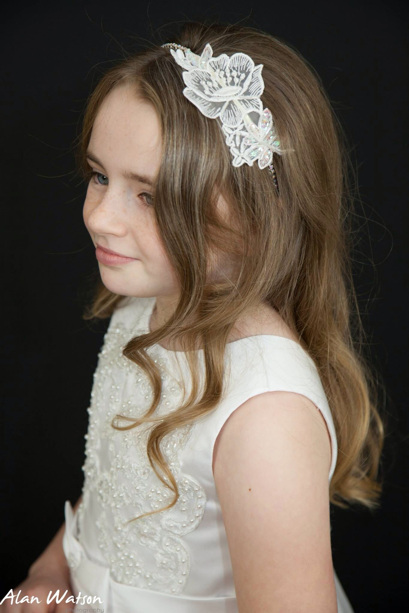 lace and rhinestone headband first holy communion / flower girl hair