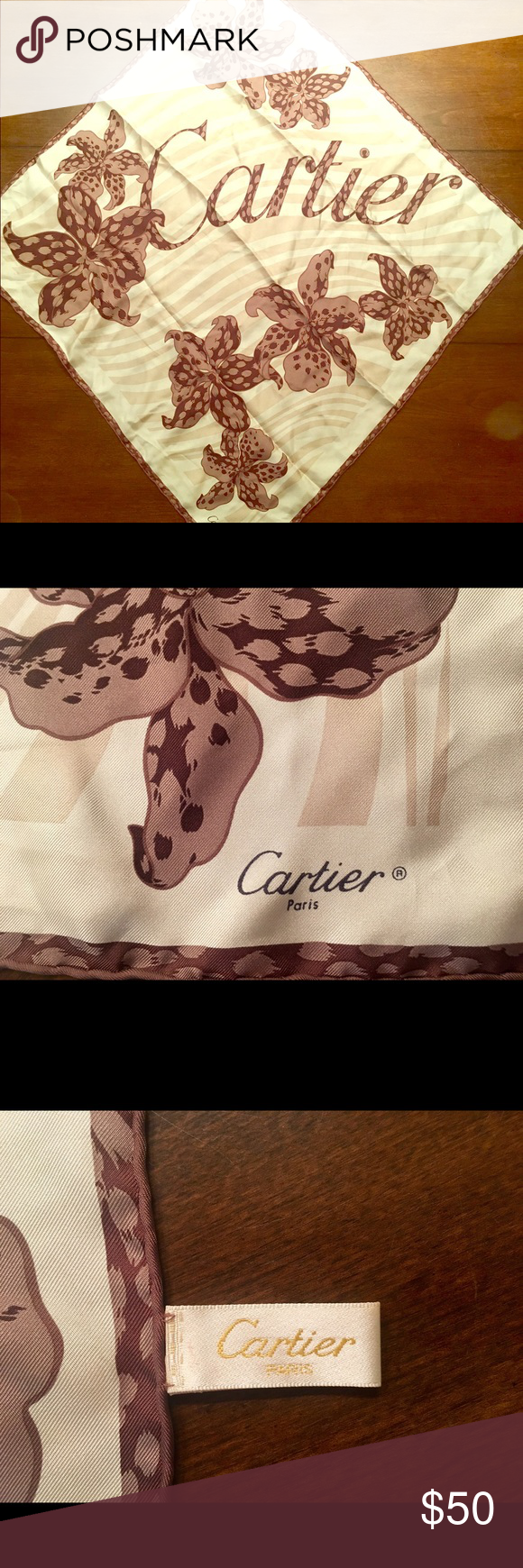 Cartier authentic silk scarf Cartier panther orchid scarf 25x25 inches Cartier Other
