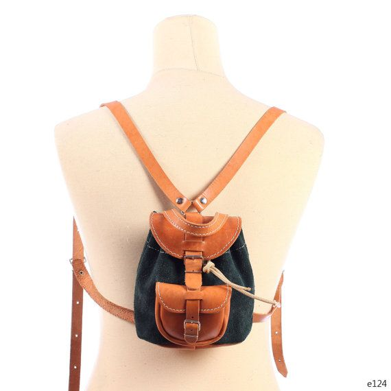 Leather and Suede Small Backpack . Mini Vintage 90s Grunge Brown ...