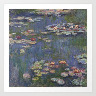 Monet Purple Waterlillies Art Print by Gwynstone Originals - $12.48