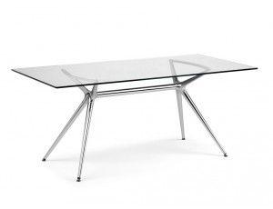 Tavoli In Acciaio E Cristallo.Metropolis 180 Tavolo Rettangolare In Acciaio E Vetro Tavolo Con