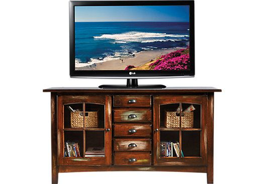 Shop for a Foxborough Dark Pine Console at Rooms To Go Find TV