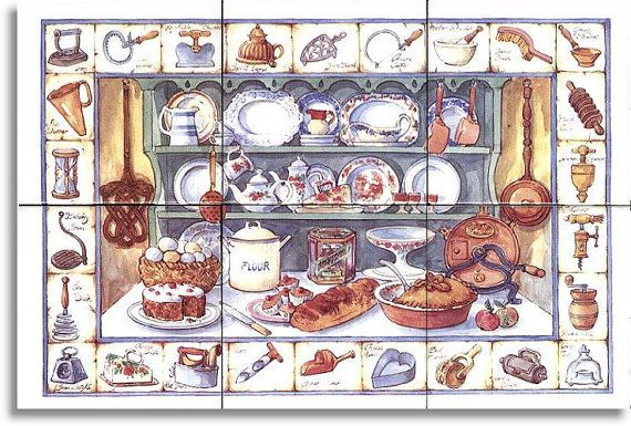 Country Cupboard ~ Ceramic Tile ~ Range Stove Back-splash ~ Kitchen Tile Art ~ Custom Tile Mural ~ Decorative Tiles 104