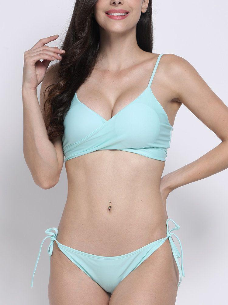 6c5f77090c9 Plus Size Women Sexy Pure Color Bikini Criss Cross Bandage Bikini Sets  Swimwear