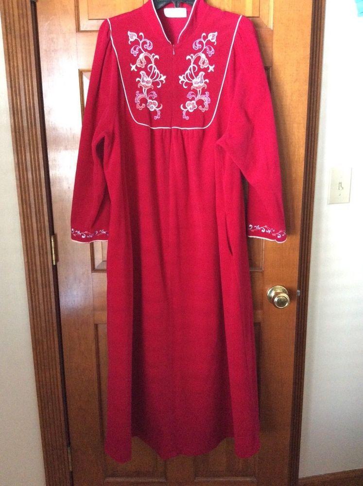 Vanity Fair Velour Robe Housecoat Large Red Zip Front