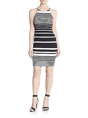 Saks Fifth Avenue RED Striped Bodycon Sheath - Black - Size