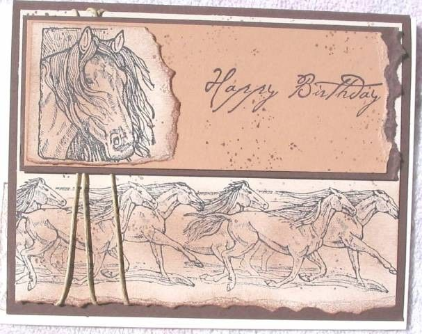 Poster:  victorial  Keywords: horses birthday  Stamps: equestrian dream  Paper: natural ivory, close to cocoa, basic black, chocolate chip  Ink: basic black, close to cocoa, chocolate chip  Accessories: black hemp, dimensionals, sponges