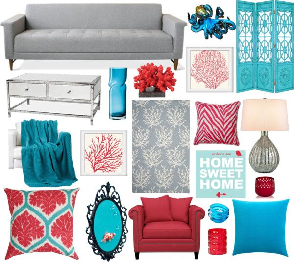 Red And Turquoise Living Room: How To Accessorize A Sofa
