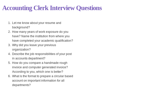 Accounting Clerk Interview Questions Questions Related To