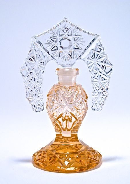 1920s Czechoslovakian perfume bottle, pink crystal, clear tiara stopper