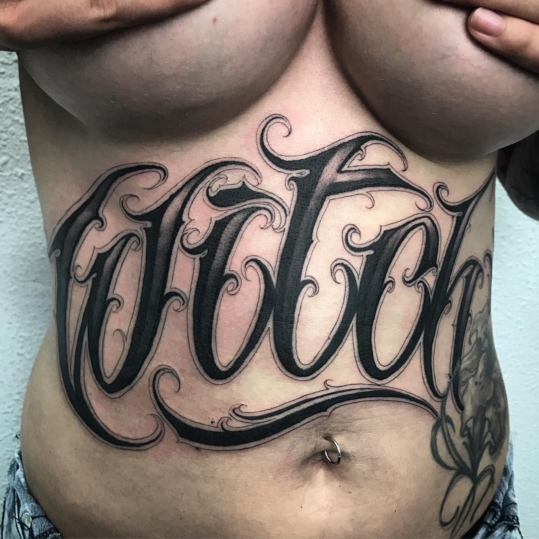 Witch Lettering Stomach Tattoo Tattoos Tattoo Lettering Fonts Stomach Tattoos