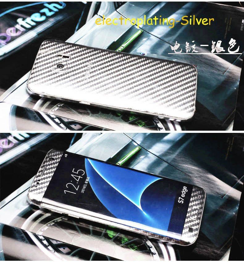 360 Degree Full Body Carbon Fiber Style sticker For samsung S7 S6 edge or Plus S5 Note 5/4/3/2 A710 A510 Case Skin