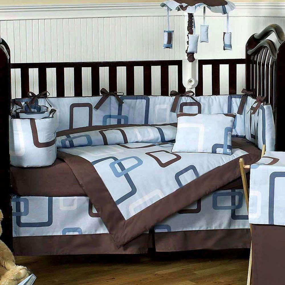 Geo Blue And Chocolate Modern Geometric 9 Piece Crib Bedding Set Modern Crib Bedding Modern Baby Bedding Baby Bed