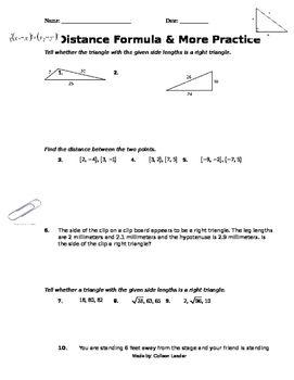 Distance Formula More Practice Distance Formula Word Problems