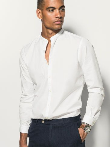 SLIM FIT WHITE SHIRT WITH MANDARIN COLLAR - MASSIMO DUTTI ... 3dc7917a6