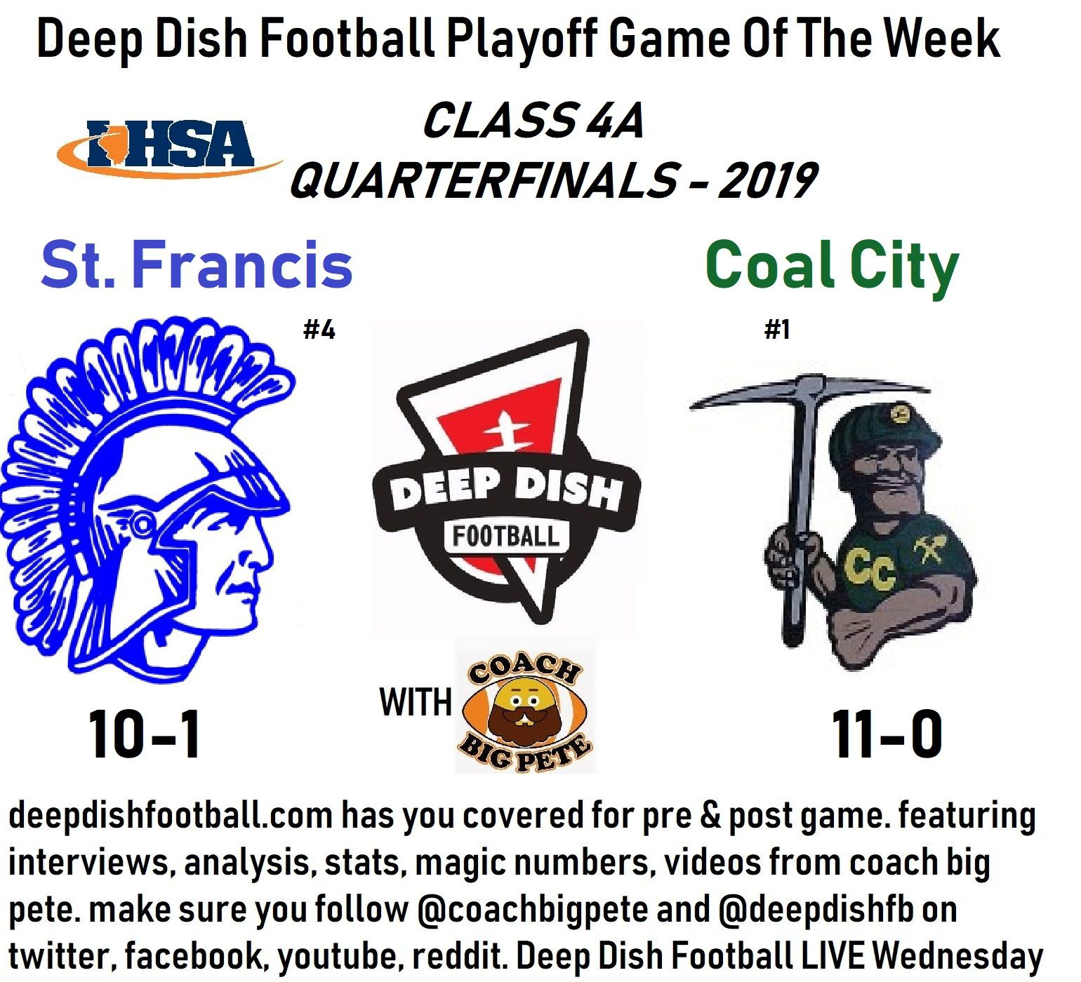 Deep dish football playoff game of the week st francis vs