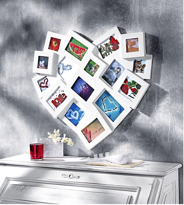 Bilderrahmen in Herzform für 16 Fotos, Farbe: weiß | Decoration