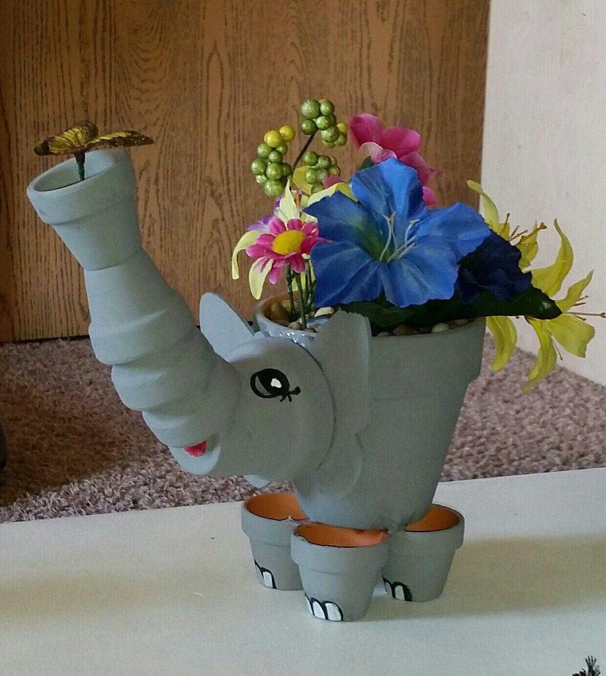 elephant clay pot art clay pot crafts tont pfe pinterest tont pfe deko basteln mit. Black Bedroom Furniture Sets. Home Design Ideas