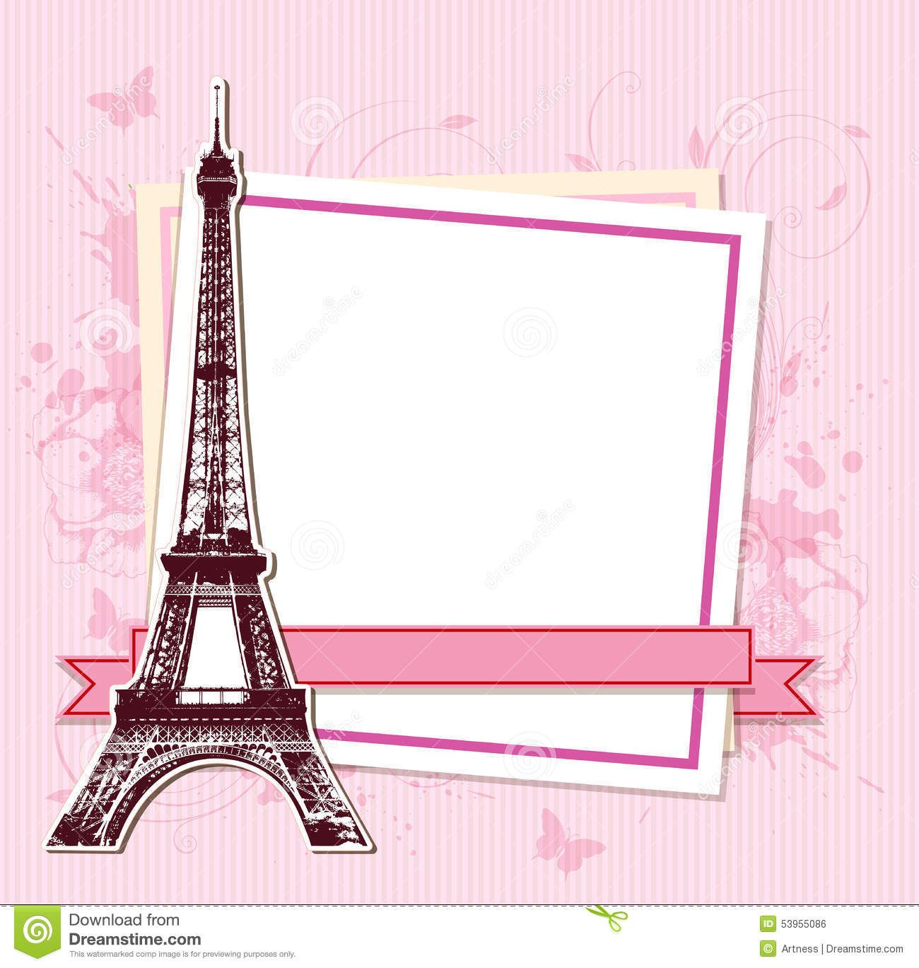 Coco Chanel Wall Stickers White Frame Paris Eiffel Tower Pink Background 53955086