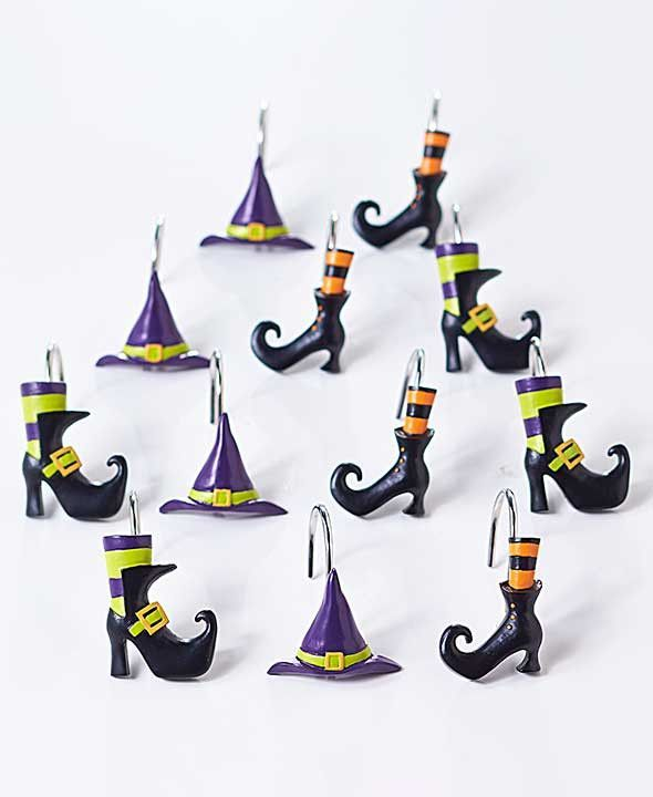 Halloween Witch Bathroom Collection Shower Curtain Hooks Rug Accesories