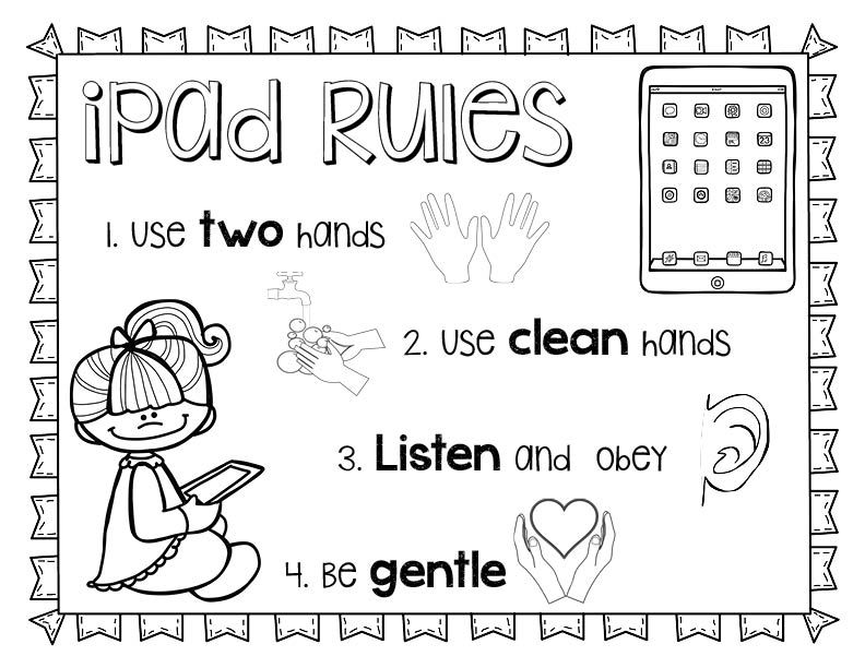 Ipad Rules Printable Coloring Sheet Ipad Rules Printable Coloring Sheets Elementary Computer Lab