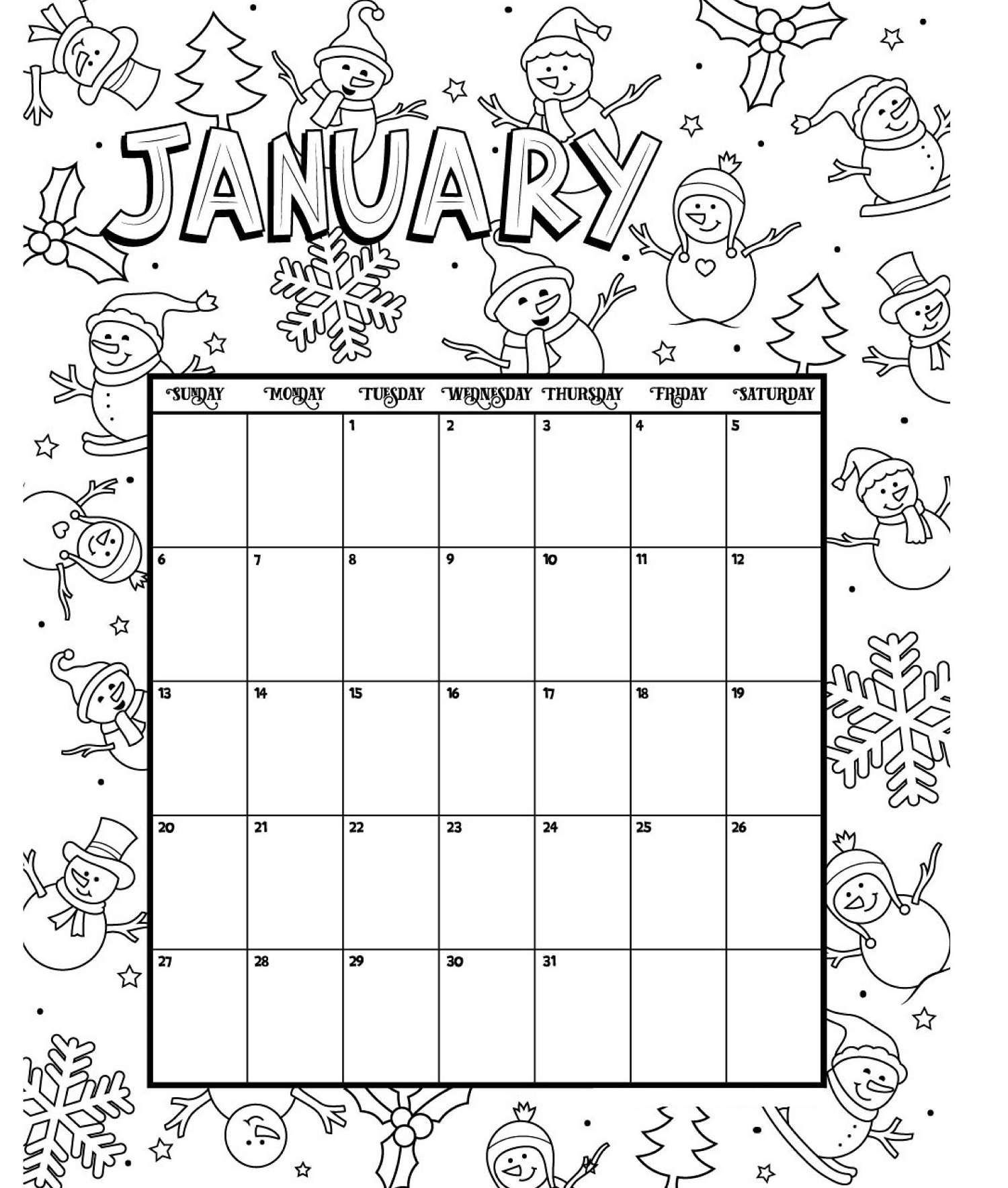 January Printable Coloring Calendar 2019 Coloring Calendar Kids