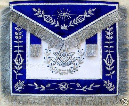 HAND EMBROIDERED MASONIC PAST MASTER APRON WITH ALL MASONIC SYMBOLS BLUE