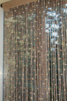 Natural jute crochet curtain door/window with wood