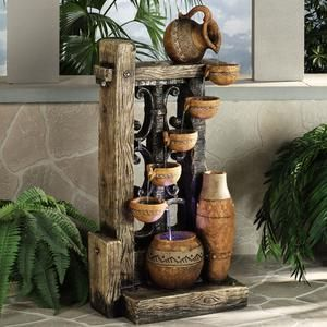 Rustic pots lighted water fountain decoracin jardines pinterest rustic pots lighted water fountain workwithnaturefo