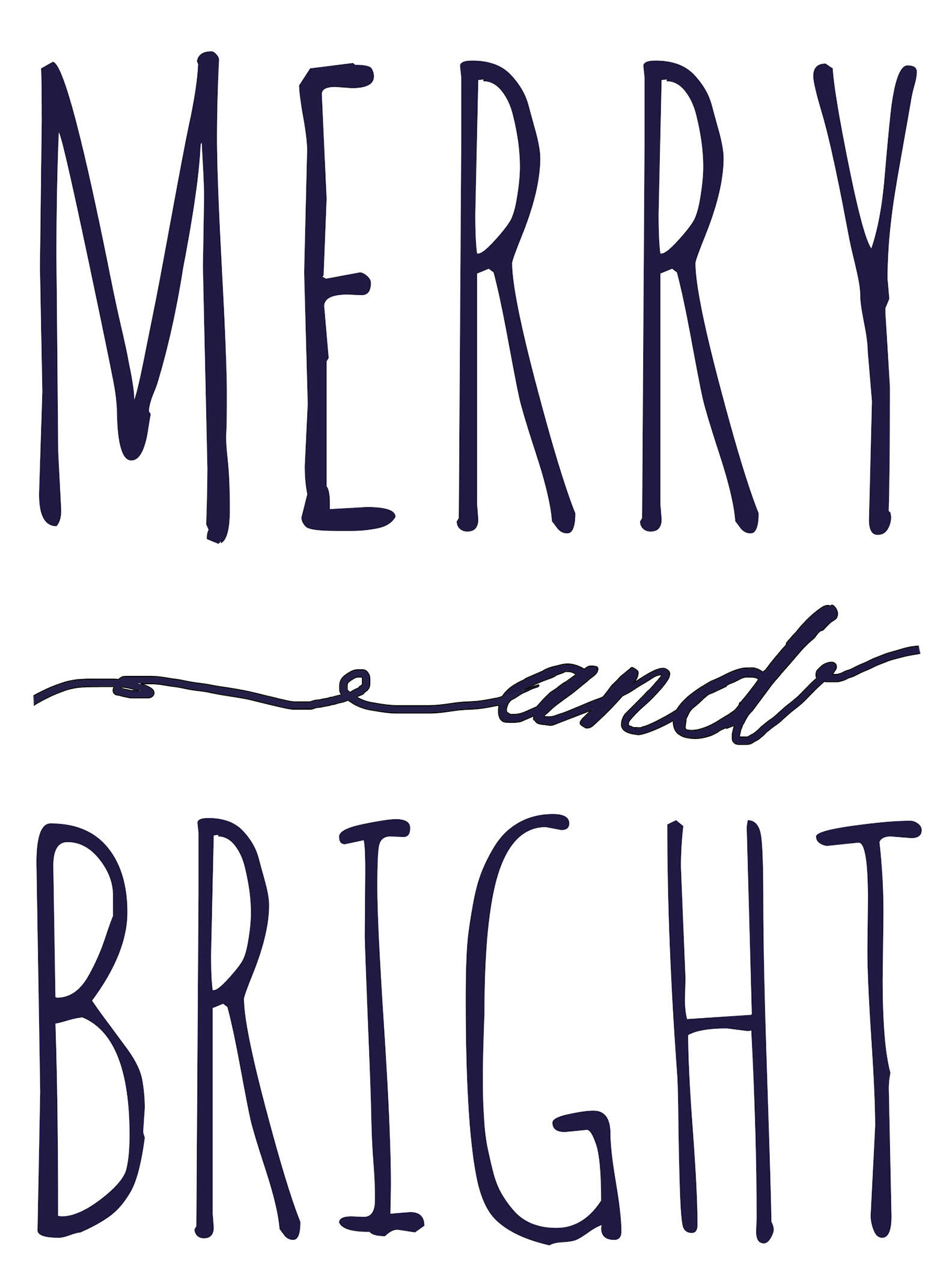 Merry and Bright free Printable Template Christmas signs