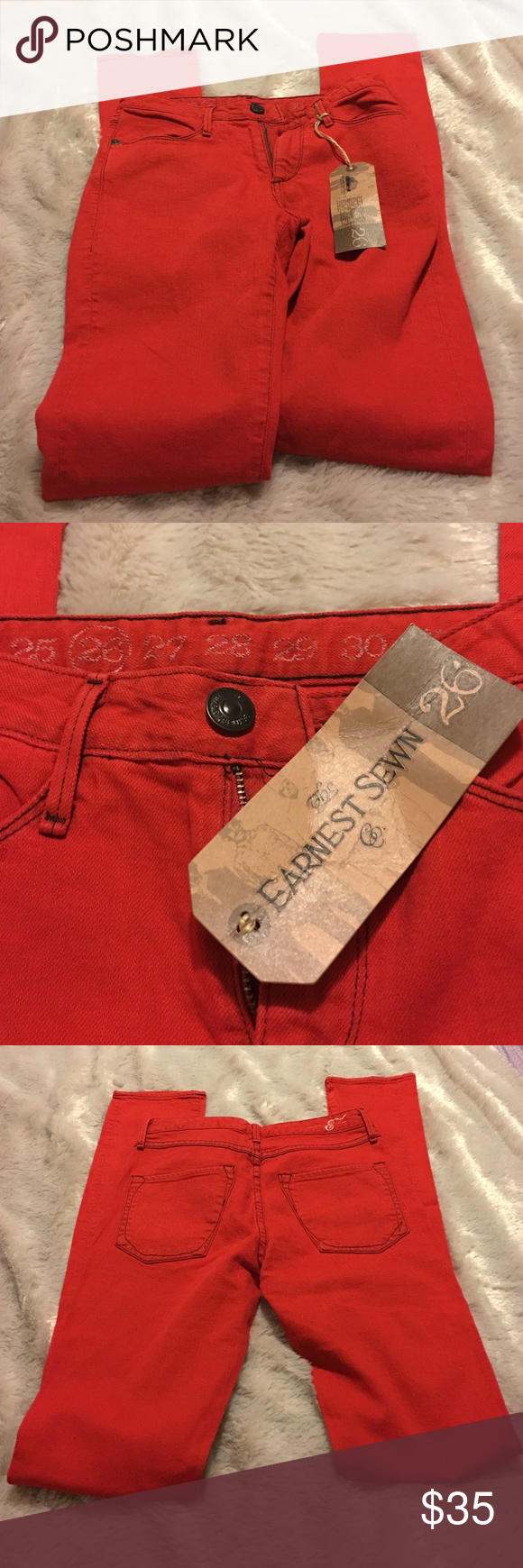 Earnest Sewn Skinny Jeans NWT Red Skinny Jeans Ginger 128 Size 26W 34 Inseam.  One very small blemish pictured on Back left leg near ankle. Earnest Sewn Jeans Skinny