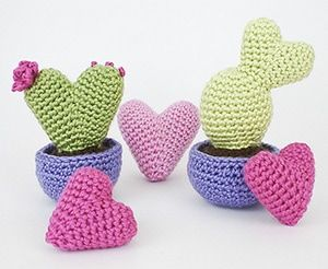 Amigurumi Love Heart Patterns : Heart cactus collection by @planetjune via i heart toys a love
