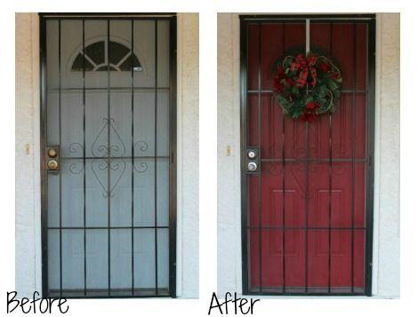 Red Front Door Security Screen Door Screen Door Door Makeover