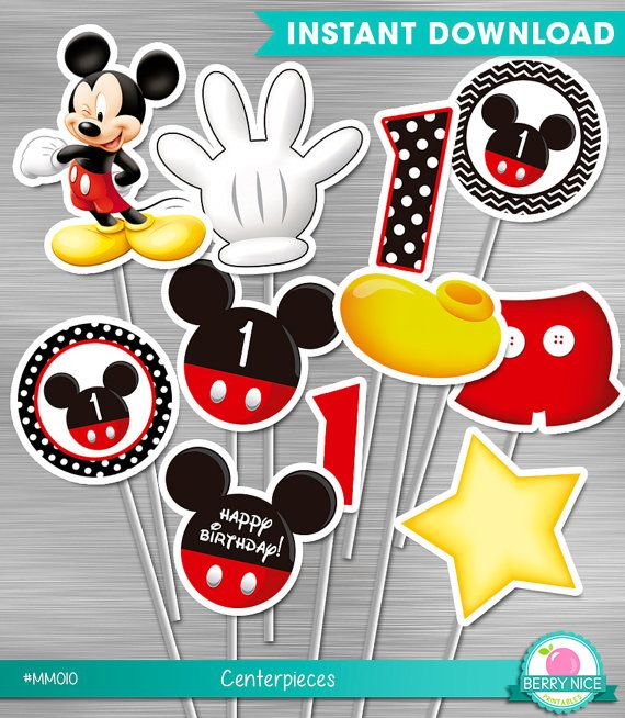 INSTANT DOWNLOAD Mickey Mouse Centerpieces First Birthday Party