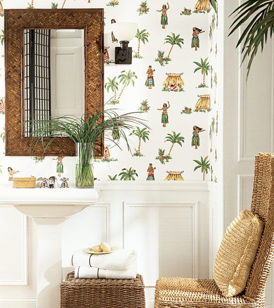 Love A Tropical Themed Bathroom! Check Out Thibautu0027s Hula Wallpaper In  White From Jacaranda Collection