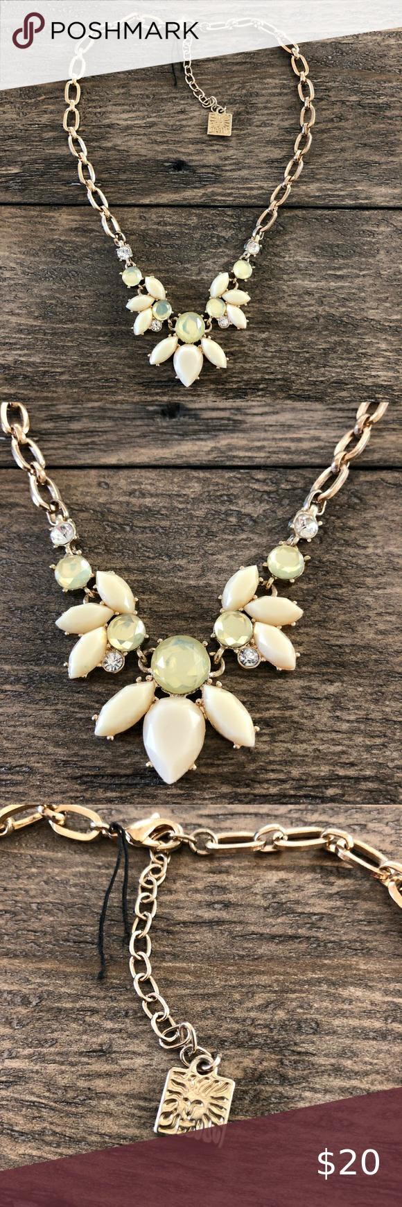 Anne Klein Gold Tone Yellow Statement Necklace