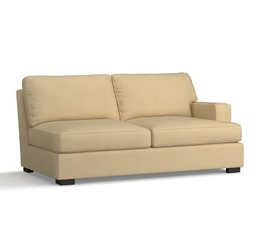 Townsend Square Arm Upholstered Right-arm Loveseat, Polyester Wrapped Cushions, Performance Everydaysuede(TM) Oat